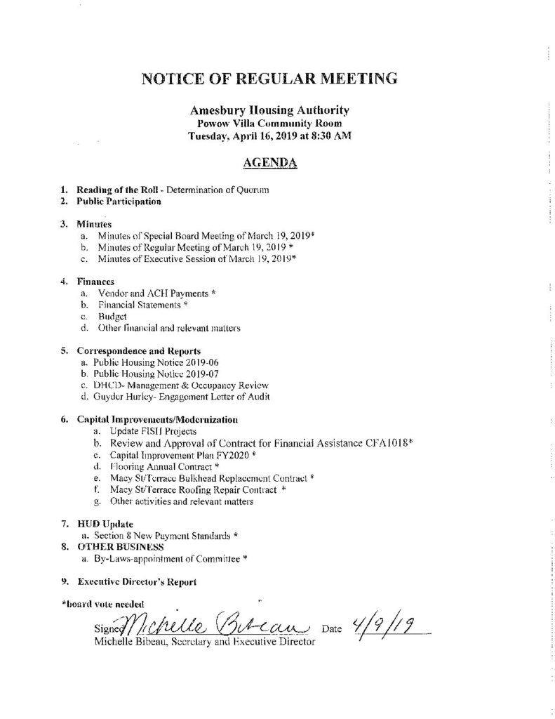 April Board Meeting | Amesbury Housing Authority